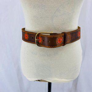 Vintage Stamped Painted Orange Flower Leather Belt